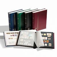 Альбом Leuchtturm для марок (кляссер) COMFORT с 16 листами из черного картона, А4, ватированная обложка, синий