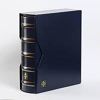 Альбом Leuchtturm, OPTIMA большой вместимости (до 80 листов) для монет или купюр, с футляром синий