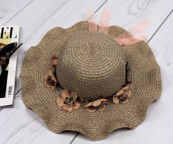 Женская шляпа с волнистыми полями и цветами, фото 2