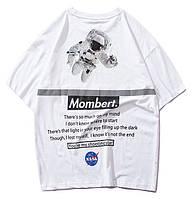 Белая футболка NASA Mombert (наса со светоотражающей полоской мужская женская)