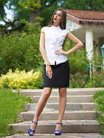 Женская блуза белая с коротким рукавом, деловой, офисный стиль