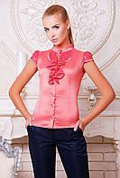 Женская блуза розовая с коротким рукавом, деловой, офисный стиль