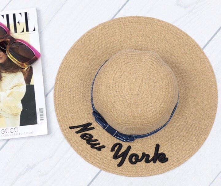 Шляпа женская пляжная New York бежевая с  лентой