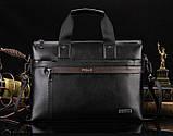Мужская сумка-портфель Polo под формат А4. Черная   КС32-1, фото 8