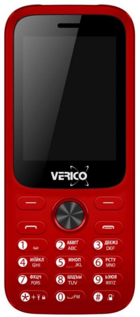 Кнопочный телефон с большим экраном, камерой и фонариком Verico Carbon M242 Red