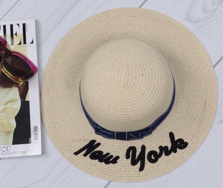 Шляпа женская пляжная New York светло-бежевая с  лентой