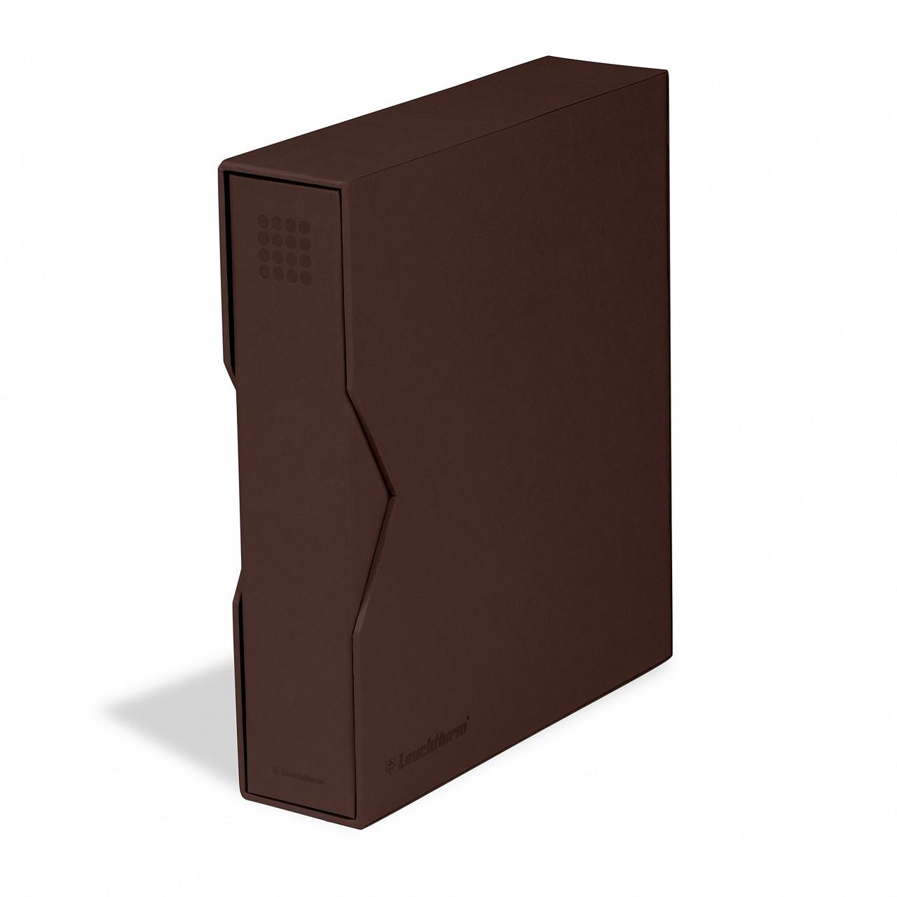 Альбом Leuchtturm, OPTIMA PUR місткістю (до 60 листів), для монет або банкнот, з футляром, коричневий