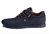 Чоловічі шкіряні літні кросівки, перфорація E-series biom black чорні