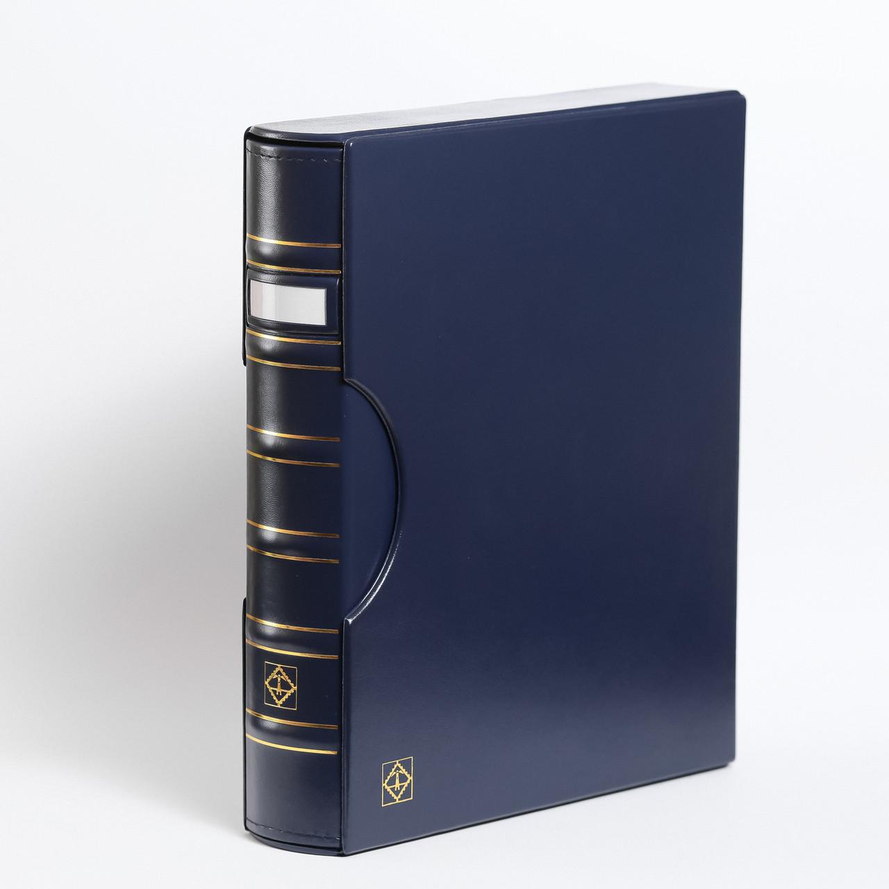 Альбом Leuchtturm, GRANDE для монет в холдерах или банкнот, с футляром,окошком, синий