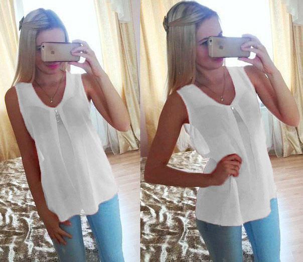 """Шифоновая блуза """"Волна"""" - распродажа модели 46, белый"""