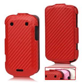 Чохол книжка для BlackBerry Bold 9900 / 9930, карбон (рожевий, білий)