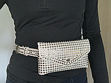 Молодежная женская сумка на пояс.Поясная сумка-кошелек.Белая КС108-1, фото 2