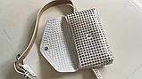 Молодежная женская сумка на пояс.Поясная сумка-кошелек.Белая КС108-1, фото 4