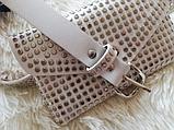 Молодежная женская сумка на пояс.Поясная сумка-кошелек.Белая КС108-1, фото 6
