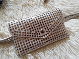 Молодежная женская сумка на пояс.Поясная сумка-кошелек.Белая КС108-1, фото 7