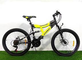"""Підлітковий гірський велосипед Azimut Tornado 24 розмір рами 17""""GD BLACK-YELLOW"""