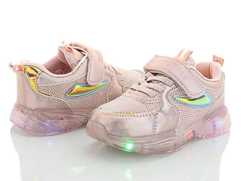 Кроссовки  для девочки на силиконовой подошве с подсветкой Clibee (розовый)размеры 26,28,31