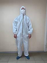 Комбінезон нетканий ламінований, захисний з капюшоном на блискавці, спанбонд - 40 г/м2