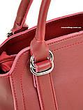 Красная стильная женская сумка. Небольшая сумочка Алекс Рей. Женский портфель. СЛ8, фото 2