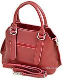 Красная стильная женская сумка. Небольшая сумочка Алекс Рей. Женский портфель. СЛ8, фото 4