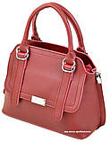 Красная стильная женская сумка. Небольшая сумочка Алекс Рей. Женский портфель. СЛ8, фото 5