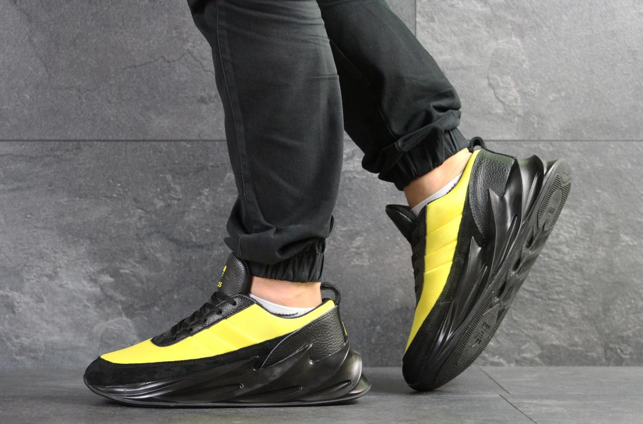 Мужские модные кроссовки (в стиле) Adidas Sharks,черные с желтым