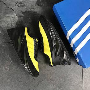 Мужские модные кроссовки (в стиле) Adidas Sharks,черные с желтым, фото 2