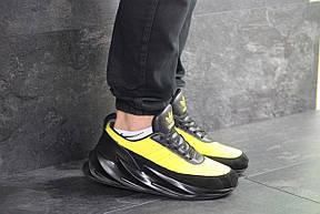 Мужские модные кроссовки (в стиле) Adidas Sharks,черные с желтым, фото 3