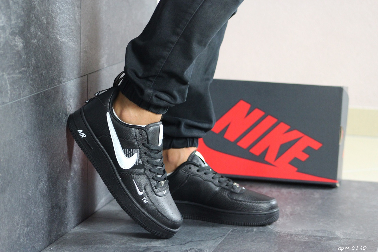 Кроссовки (в стиле) мужские Nike Air Force AF 1,черные с белым 44р
