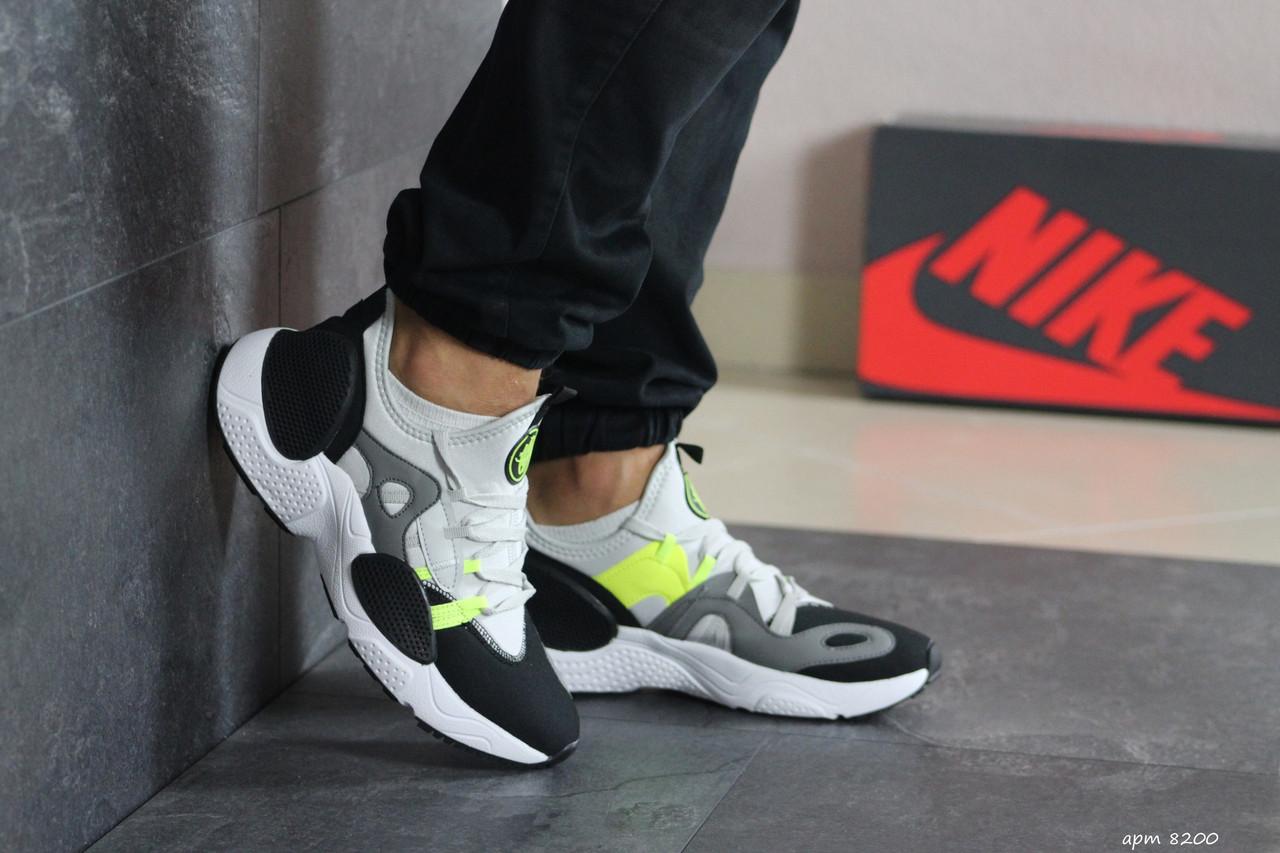 Мужские текстильные кроссовки (в стиле) Nike Air Huarache,серые с салатовым