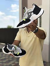 Мужские текстильные кроссовки (в стиле) Nike Air Huarache,серые с салатовым, фото 3