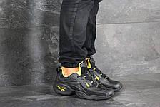 Мужские кроссовки (в стиле) Reebok кожаные,черные с желтым, фото 2