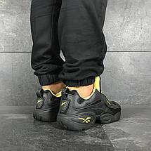 Мужские кроссовки (в стиле) Reebok кожаные,черные с желтым, фото 3