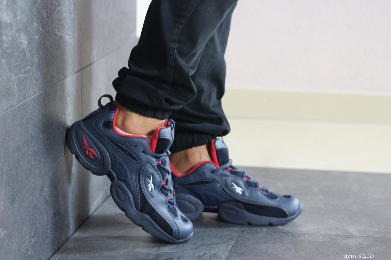 Мужские кроссовки (в стиле) Reebok кожаные,темно синие с красным