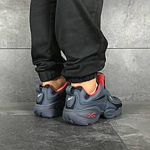 Мужские кроссовки (в стиле) Reebok кожаные,темно синие с красным, фото 3