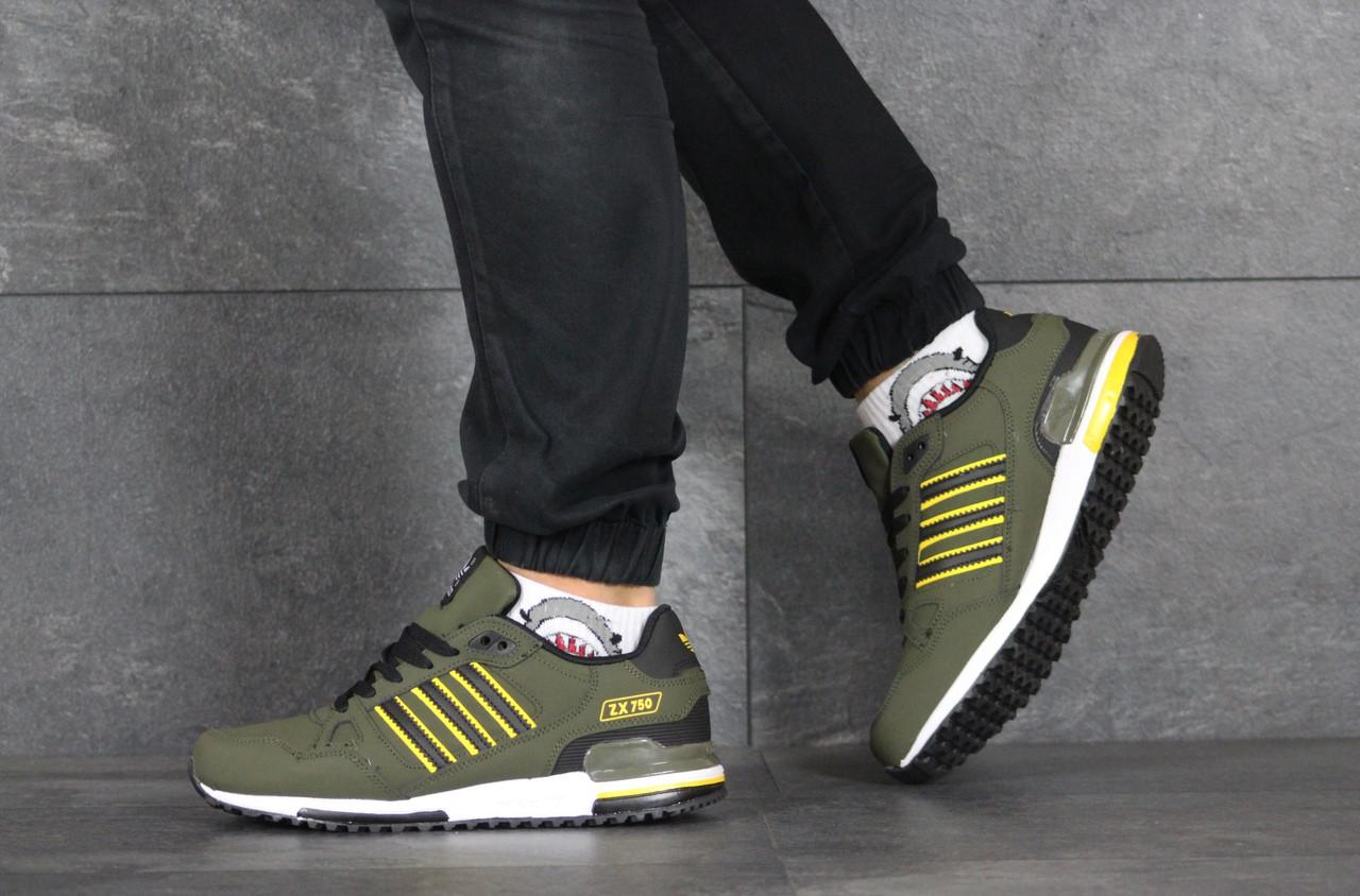 Мужские кроссовки (в стиле) Adidas ZX 750,темно зеленые