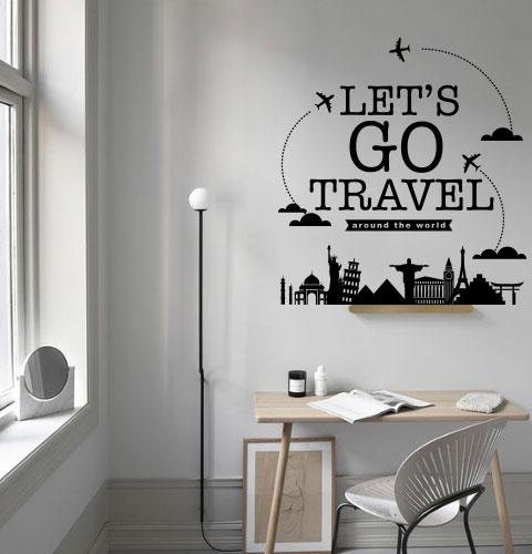 Текстовая наклейка Let's go travel (путешествия, мотивация, декор турагентства)