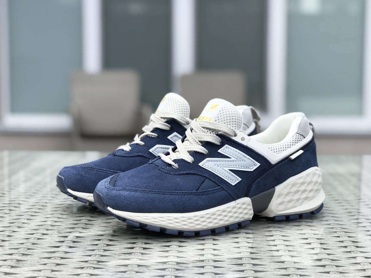 Мужские кроссовки (в стиле) New Balance 574 замшевые,синие с бежевым
