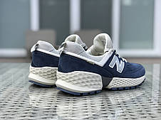 Мужские кроссовки (в стиле) New Balance 574 замшевые,синие с бежевым, фото 3