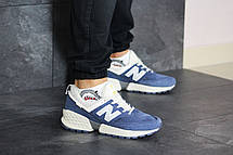 Мужские кроссовки (в стиле) New Balance 574 замшевые,синие с бежевым, фото 2