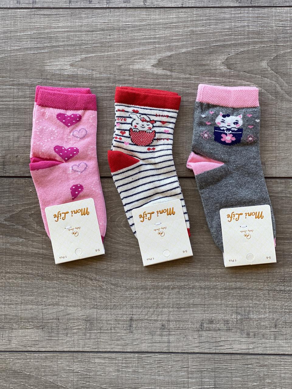 Підліткові шкарпетки Moni Life дитячі бавовна для дівчаток 5-6,7-8 років 12 шт в уп мікс кольорів