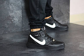 Мужские осенние высокие кроссовки (в стиле) Nike Air Force,черно-белые, фото 2