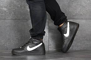 Мужские осенние высокие кроссовки (в стиле) Nike Air Force,черно-белые, фото 3