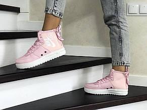 Высокие женские кроссовки (в стиле) Nike Air Force 1,розовые, фото 2