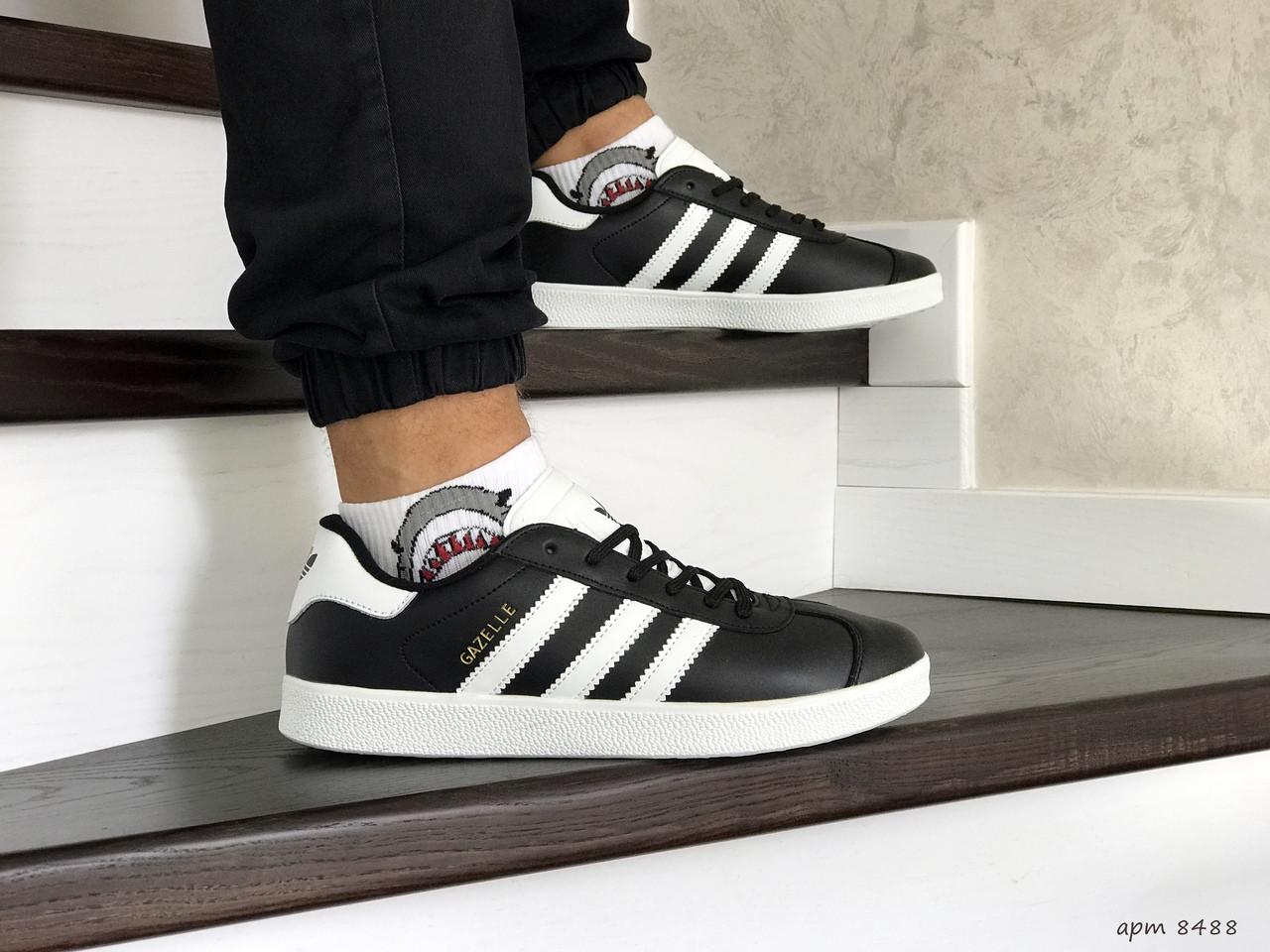 Мужские кроссовки (в стиле) Adidas Gazelle,белые с черным