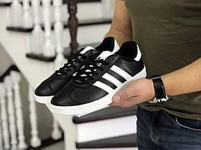 Мужские кроссовки (в стиле) Adidas Gazelle,белые с черным, фото 2