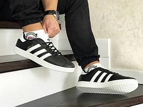 Мужские кроссовки (в стиле) Adidas Gazelle,белые с черным, фото 3