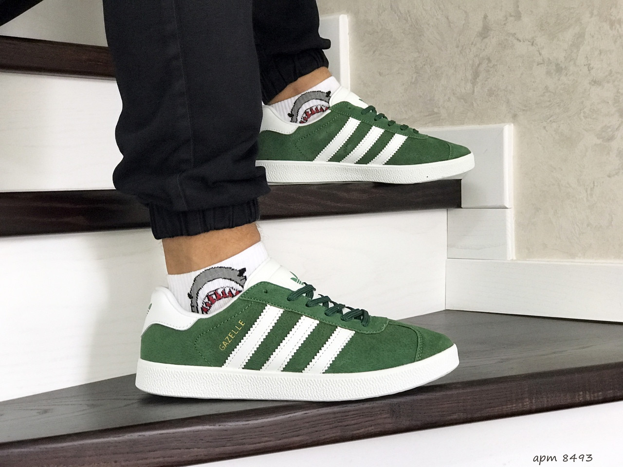 Мужские кроссовки (в стиле) Adidas Gazelle,замшевые,зеленые