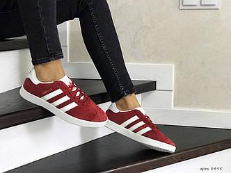Женские замшевые кроссовки (в стиле) Adidas Gazelle,красные, фото 2