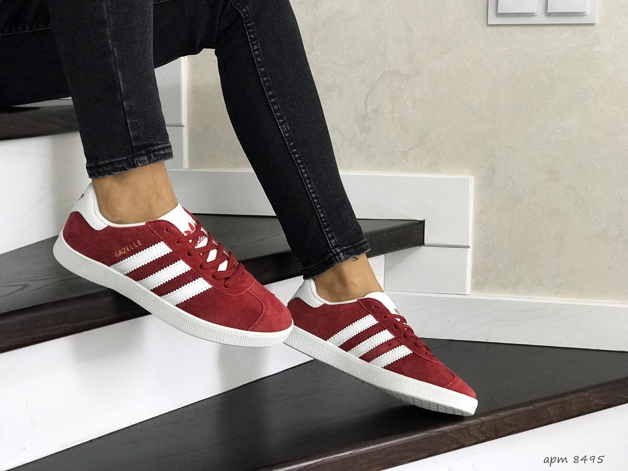 Женские замшевые кроссовки (в стиле) Adidas Gazelle,красные